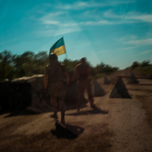 Last ukrainian Block Post on the road to Debalcewe. Behind this point is the frontline with DNR. Luganskoye 13th of July 2016, photo by Wojciech Grzedzinski